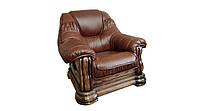 """Классический кожаный диван """"Grizli"""" (Гризли) Курьер Кресло (100 см), Не раскладной, натуральная кожа"""