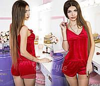 Красивый бархатный комплект шорты и майка