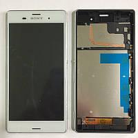 Дисплей Sony D6603/D6633/D6643/D6653 Xperia Z3, з сенсором в рамці (Білий)