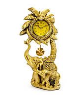 """Консольные (настольные) часы с маятником """"Слоники под пальмой"""" Jibo 2142-A, 44см"""