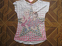 Детская летняя футболка Анна Эльза 3-Д для девочки 7-13 лет Турция