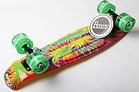 Скейт Marcos Желтые тропики на зеленых свет колесах