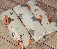 Набор фланелевых пелёнок для новорожденных из 3-х штук с мишкой Тедди (Польша)