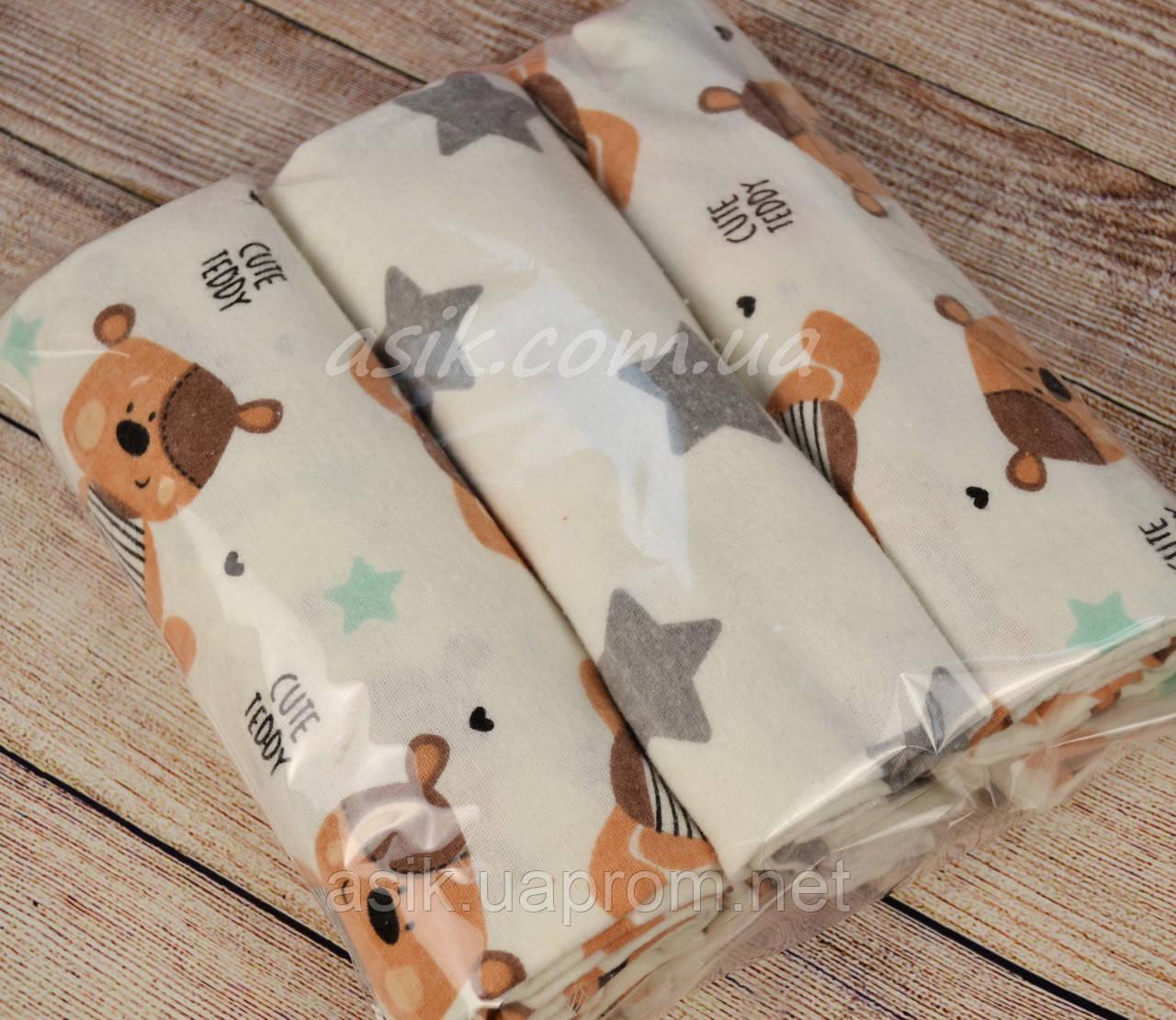 Набор фланелевых пелёнок для новорожденных из 3-х штук с мишкой Тедди (Польша) - Интернет-магазин детской постели «ASIK» в Волынской области