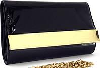 Женский лакированный клатч чёрного цвета