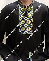 Черная  вышитая мужская рубашка 5520