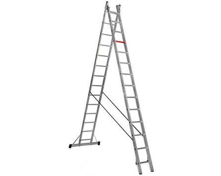 Двухсекционная алюминиевая лестница - стремянка 2х14