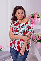 Модная женская блузка принт розы / Украина / штапель