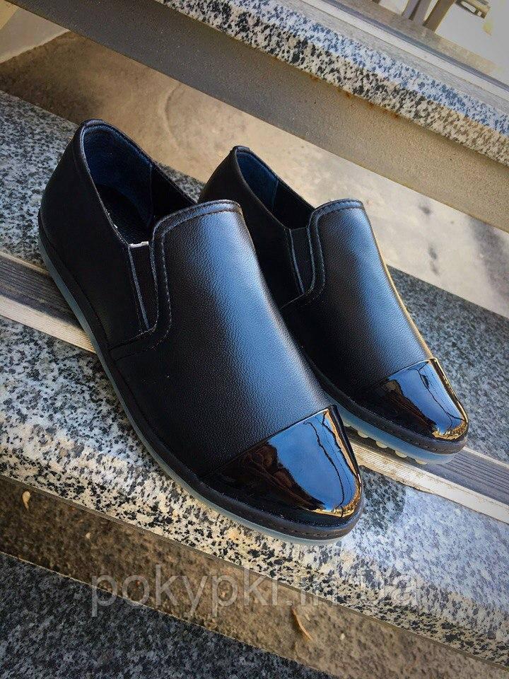 Слипоны женские кожаные черные с лаковым носком мягкие удобный -