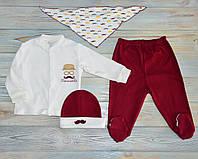 Костюм детский 68 см для новорожденного с усами Mini World,подарок для новорожденного, нарядный костюм