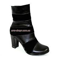 Женские зимние ботинки на высоком устойчивом каблуке, натуральный замш и кожа., фото 1