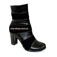 Женские демисезонные ботинки на высоком устойчивом каблуке, натуральный замш и кожа.