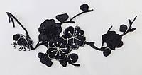 Аппликация  (термо) цветы веточка 18 см черн. с серебр.