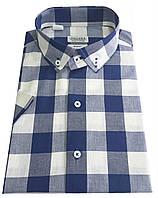 Мужская рубашка приталенная с коротким рукавом в клетку №T 12-27 - 4624 V7