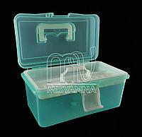 Кейс (контейнер)  для маникюрных инструментов со сьемным отделением, 11х19.5х10.5 см, салатовый