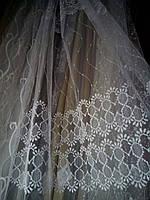 Сеточка вышивка полосы белая Турция Interio
