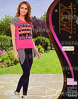 Женский комплект футболка+лосины Турция. MODY 6959-R. Размер 44-46.