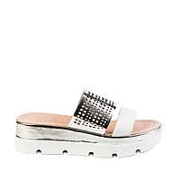 Сабо женские кожаные Sico Fusion 52-12345 бел./серебр. кож.