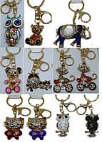 Брелок для ключей №733 золото металл со стразами, высота 12см mix  (Сова, Медведь, Слон, Кошка) уп12