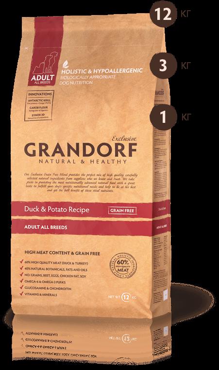 Grandorf Утка с бататом для взрослых собак всех пород 1кг