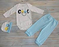 Набор детский (68, 74 см) - 74 см бодик на 9 месяцев,штаны,шапка голубой  68 cm, штанишки, боди, Турция, MiniW