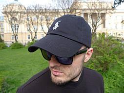 Кепка Cap by Ralph Lauren черная с белым логом. Живое фото! (Реплика ААА+)