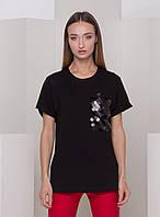 Черная футболка с пайетками на кармане With Pepper