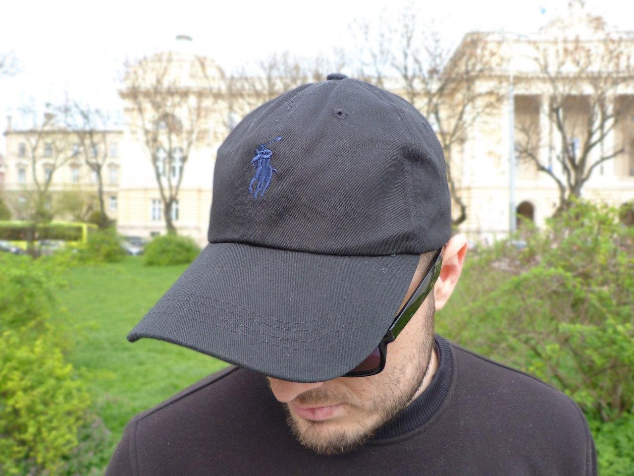 Кепка Cap by Ralph Lauren черный с темно синим лого. Живое фото! (Реплика ААА+)