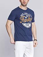Мужская футболка LC Waikiki василькового цвета с надписью на груди