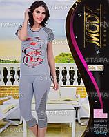 Женский комплект футболка+капри Турция. MODY 7029. Размер 44-46.