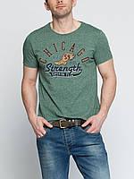 Мужская футболка LC Waikiki изумрудного цвета с надписью Chicago
