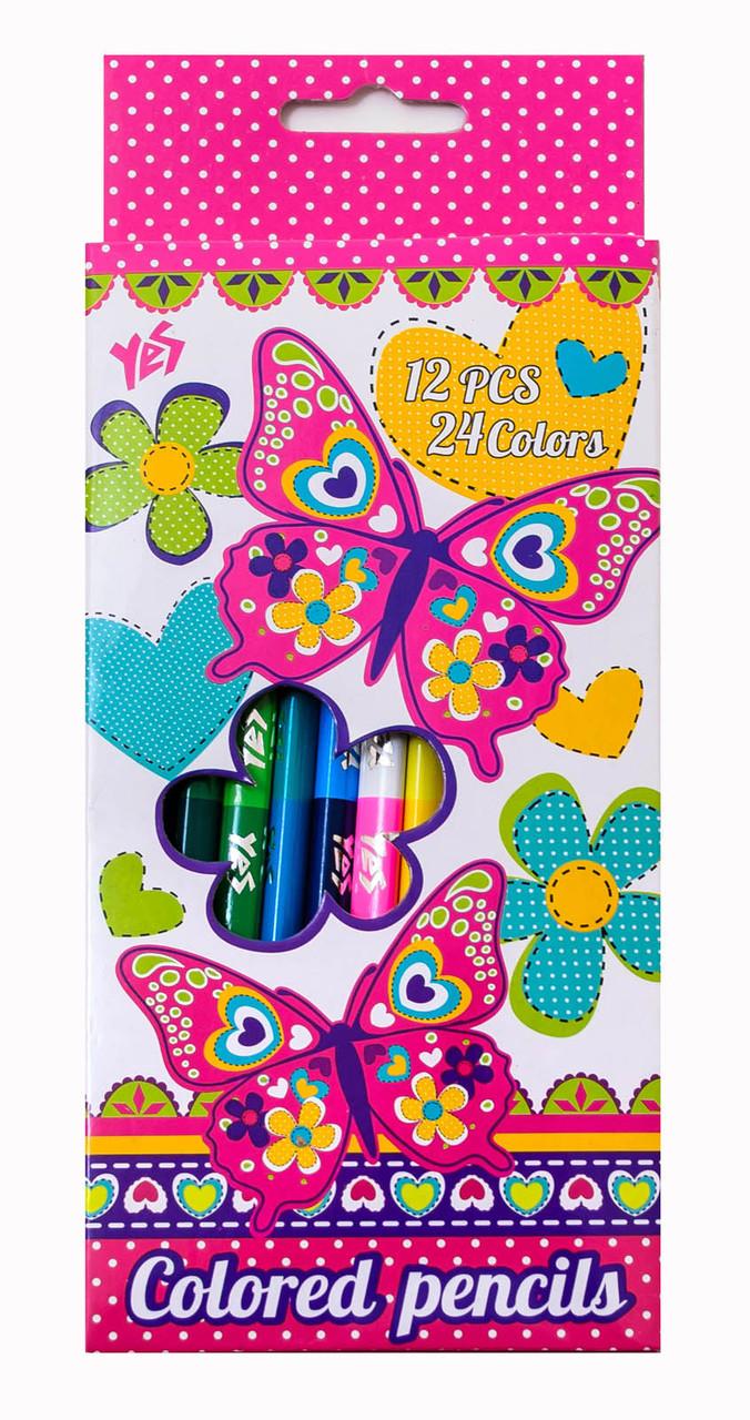 "Карандаши 12/24 цв. ""Butterfly"" 290358"