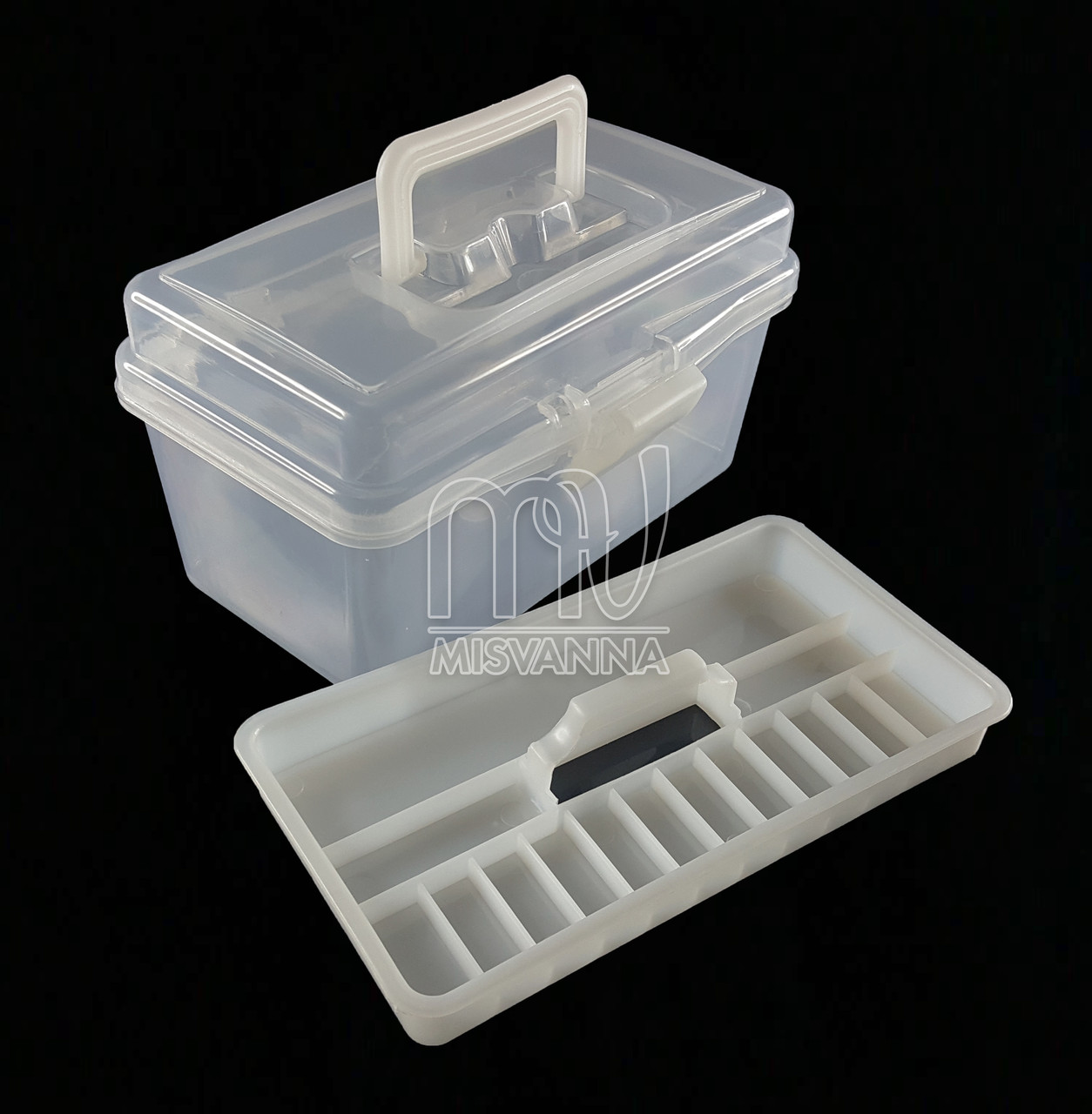 Кейс (контейнер)  для маникюрных инструментов со сьемным отделением, 11х19.5х10.5 см, белый