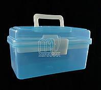 Кейс (контейнер)  для маникюрных инструментов со сьемным отделением, 11х19.5х10.5 см, голубой