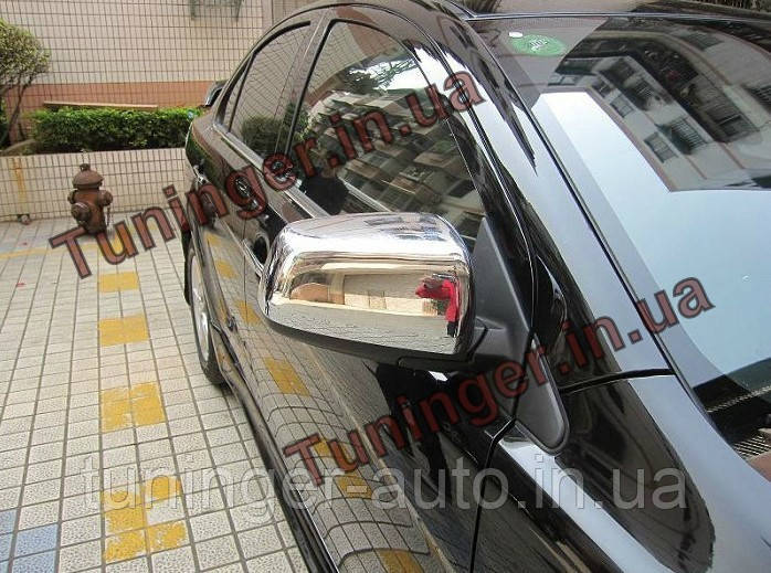 Хром накладки на зеркала  Mitsubishi Lanсer X 2007-2015 (без повторителя)
