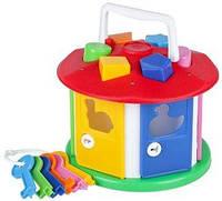 Детская развивающая игрушка сортер с ключиками - Куб Розумний малюк Домик Технок 2438