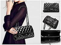 Женская сумка  через плечо черная   металлическая цепочка
