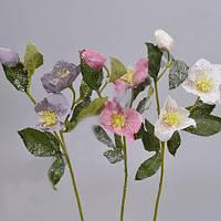 Роза китайская в снегу  58 см Цветы искусственные