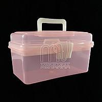 Кейс (контейнер)  для маникюрных инструментов со сьемным отделением, 11х19.5х10.5 см, розовый