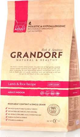Grandorf Ягнёнок с рисом INDOOR Для взрослых кошек от 1 года с нормальной активностью 2кг