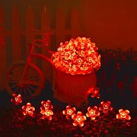 Светодиодная гирлянда на солнечной батарее  Лютики красный 7м 50 Led, фото 1