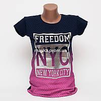 Женская футболка с серебристым принтом Freedom цвет темно-синий p.44-46 Gusse 5742 SS14-7