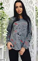 Пижама женская трикотаж серо-черная