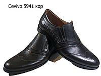 Туфли мужские классические  натуральная кожа коричневые на резинке (5941к)