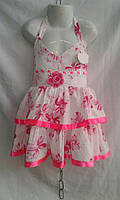 Сарафан детский  для девочек 5-9 лет,белый с розовым