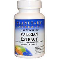 Planetary Herbals, Полный спектр, экстракт валерианы, 650 мг, 60 таблеток