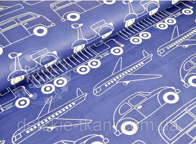 """Лоскут ткани №722а синего цвета """"Все виды транспорта"""""""