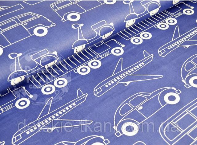 "Отрез ткани №722а синего цвета ""Все виды транспорта"""