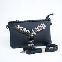 Женская черная модная сумка клатч с длиной ручкой