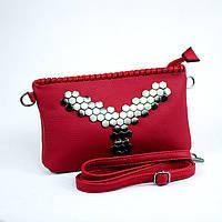 Стильная красная сумка клатч через плечо